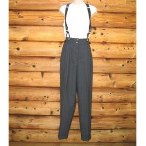 Vintage High Rise Gray Wool Suspender Pants